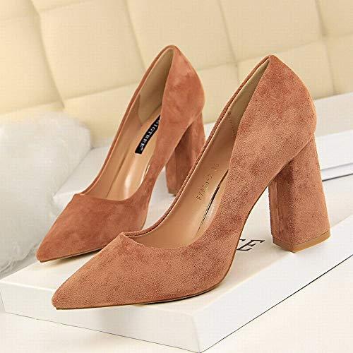 avec chaussures Joyiyuan Thick à en chaussures montrée carrière fine hauts roses talons Lady talons des daim Ol à q14Iwx4rE
