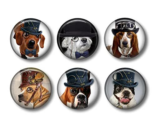 Steampunk Dogs - Fridge Magnets - Dog Magnets - 6 Magnets - Steampunk Magnets - 1.5 Inch Magnets - Kitchen Magnets - Cute Magnets