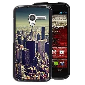A-type Arte & diseño plástico duro Fundas Cover Cubre Hard Case Cover para Motorola Moto X 1 1st GEN I (Vignette City Skyline New York City Blue)