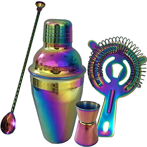 Iridescence Professional Cocktail Shaker Set Stainless Steel, 4-Piece Set, 17oz/500ml Cocktail Shaker(with Strainer Inside), Hawthorne Strainer, 20/40ml Double Sided Jigger, 11'' Spoon, Rainbow Chrome (17 Ounce Cocktail Shaker)