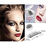 Magnetic Fake eyelashes-NO GLUE 3D Reusable Magnet Eyelashes 1.5cm Half Cover Ultra Thin 0.2mm for Natural Look Eyelashes Extension (1 Pair 4 Pcs)