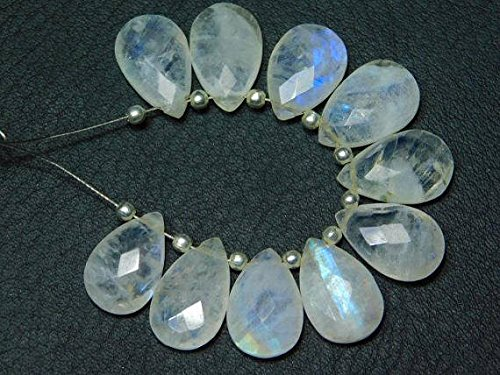 1 Strand Natural-Rainbow Moonstone Faceted Pear Teardrops Briolettes -Stones Measure- -