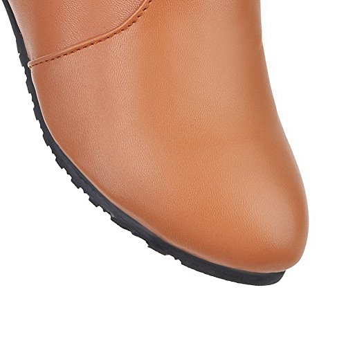 Pull Thread Brown Womens On Zipper Leather Imitated Boots BalaMasa 8wtEFE