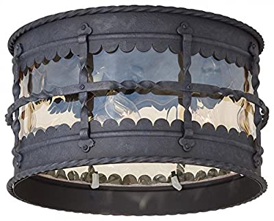 Minka Lavery 8889-A39 Mallorca 3 Light Outdoor Flush Mount,Spanish Iron