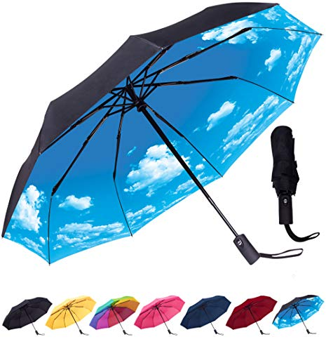dc84430eb8e0 Rain-Mate Compact Travel Umbrella - Windproof, Reinforced Canopy, Ergonomic  Handle, Auto Open/Close Multiple Colors (Blue Sky)