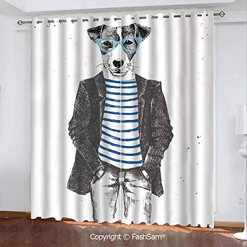 Blackout Curtains Set Room Darkening Drapes Dressed Up Hipster Dog with Glasses Hand Drawn Sketchy Fashion Animal Window Treatment Pair for Bedroom(55