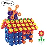 Building Blocks,iDeep 435pcs Snowflake Block Colorful Construction Building Bricks with 12 Axis Plastic Building Discs Brains Flakes Educational Toys Set Kids Building Toys for Children with Carry Bag