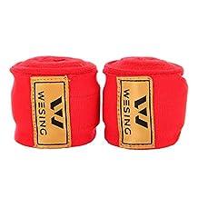 """197"""" Premium Elastic Hand Wraps Boxing Muay Thai MMA Bandage - Red (Pair)"""