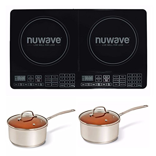 Nuwave Double Precision Induction Cooktop Burner & 2, 3 qt. Ceramic Saucepot by NuWave