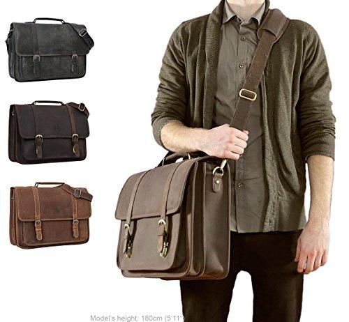 Gusti Leather Greg Laptop Bag 17 Large Messenger Bag Borsa Da Lavoro Borsa Da Lavoro Fodera Impermeabile Fodera Unitasche Master Bag Notebook Bag Elegante Nero 2h5-20-6wp