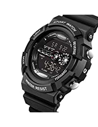Waterproof Watch W-life Stainless Steel LED Digital Sports Army Quartz Mens Watches Black