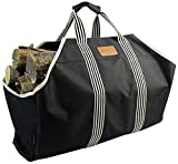 INNO STAGE 600D Polyester Large Log Carrier Tote, Waterproof Durable Firewood Holder,Fireplace Wood Stove Accessories Storage Bag-Black