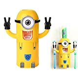 - USA Seller - Cute Despicable Me Minions Design Wash Set Toothbrush Holder Automatic Toothpaste Dispenser with Brush Cup (Yellow) (One Eye) by Apex