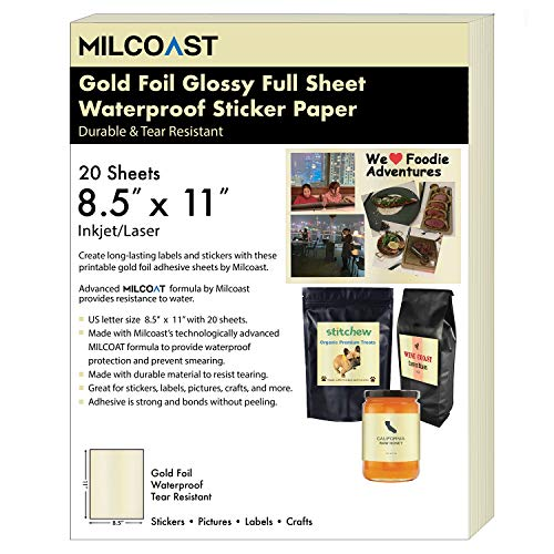 """(Milcoast Gold Foil Glossy Full Sheet 8.5 x 11"""" Adhesive Tear Resistant Waterproof Photo Craft Paper - for Inkjet/Laser Printers - for Stickers, Labels, Scrapbooks, Bottles, Arts, Crafts (20)"""