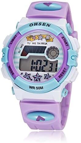 Kids Outdoor Sports Children's Waterproof Wrist Dress Watch Digital Alarm Silicone for Boy Girl Purple