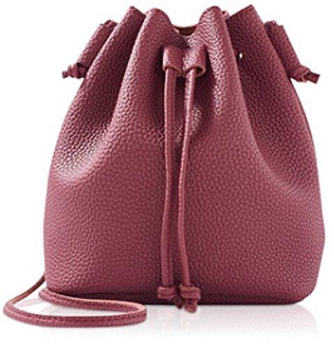 Ulta Womens Mini Cross Body Shoulder Pu Bucket Beauty Cosmetics Bag  Wine Burgundy