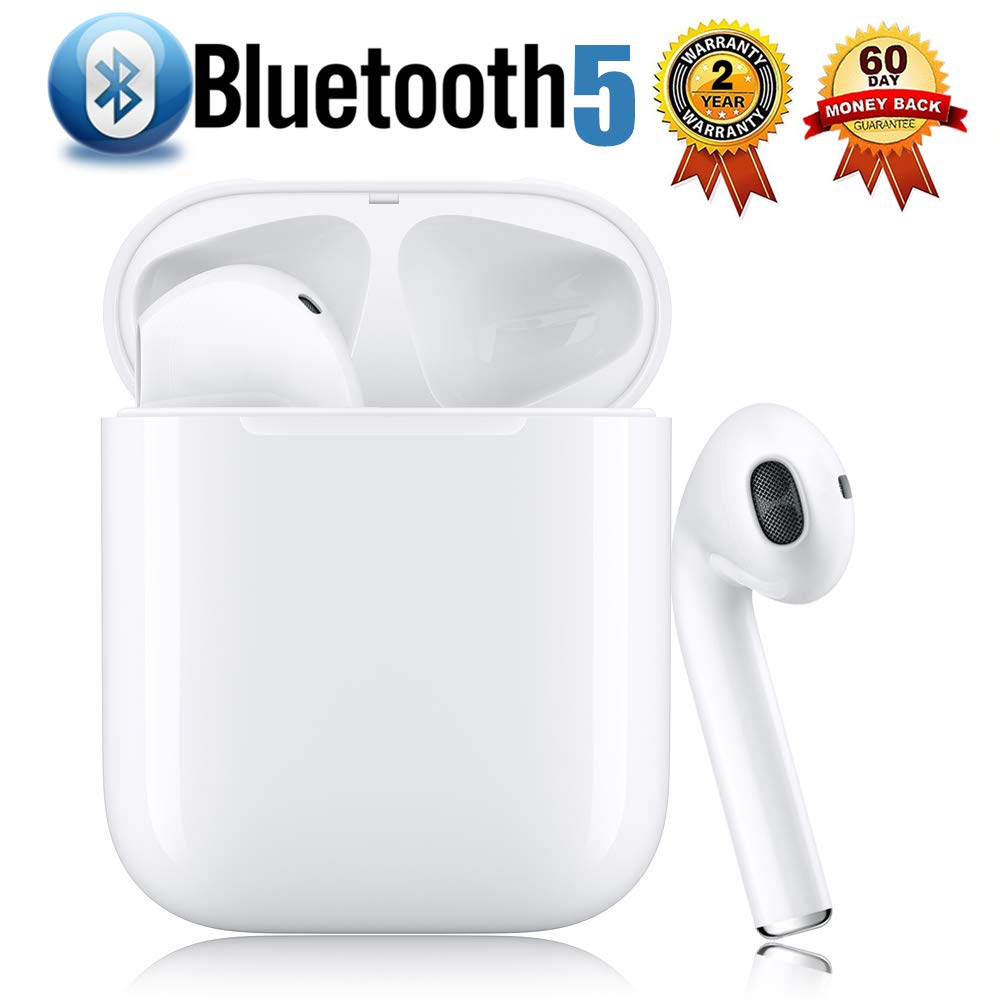 Bluetooth 5.0 Wireless Earbuds with【24Hrs Charging Case】 Waterproof TWS Stereo Headphones in-Ear Built-in Mic Headset Premium Sound with Deep Bass for Sport Earphones Apple Airpods Bluetooth Headsets by Airuop