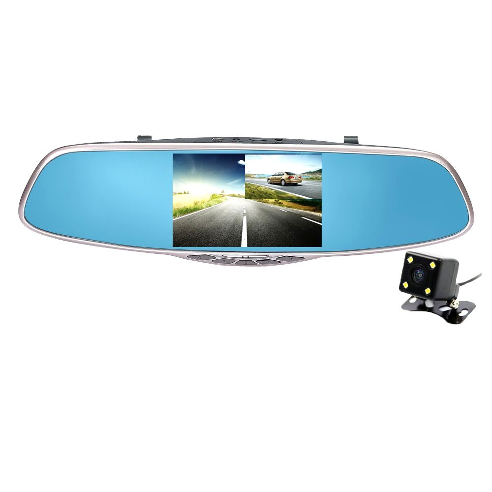 Dash Cam Carsun Full HD 1080P with 5'' IPS Screen, CARSUN Dual Cam Dash Cam Dual Lens Car Camera,Rearview Mirror Design,Reverse Parking System by carsun