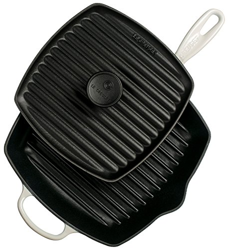 Le Creuset Cast Iron Panini Press and Signature Square Skillet Grill Set, 10 1/4 inch, White