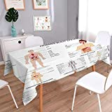 Indoor/Outdoor Spillproof Tablecloth Complete Chart of Different Organ Body Structures Cell Life Medical Illustration Multi Wedding Restaurant Party Banquet Decoration 70''x120''