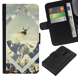 YiPhone /// Tirón de la caja Cartera de cuero con ranuras para tarjetas - Geometría de la nieve de los ciervos - LG G3