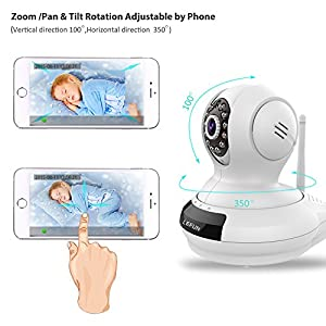 WiFi Camera, LeFun Wireless Surveillance Camera IP Camera Nanny Cam with Pan Tilt Zoom Motion Detect Two Way Audio Night Vision Remote Control 2.4G WiFi for Baby Monitor and Wireless Security Camera