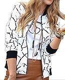 ARTFFEL-Women Hip Hop Full Zipper Striped Print Stand Collar Bomber Jacket White M