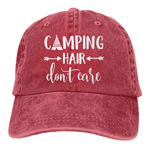 Splash Brothers Customized Unisex Camping Hair Dont Care Vintage Adjustable Baseball Cap Denim Dad Hat (Red1, One Size)