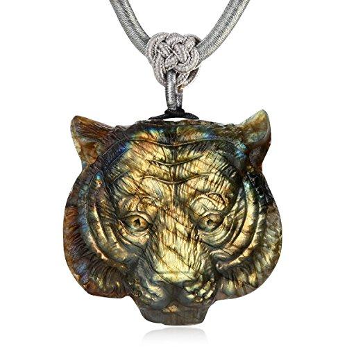 - NATURSTON Gemstone's Carving Tiger Head Pendant Necklace Natural Labradorite Mens Spiritual Jewelry Amulet (Golden)