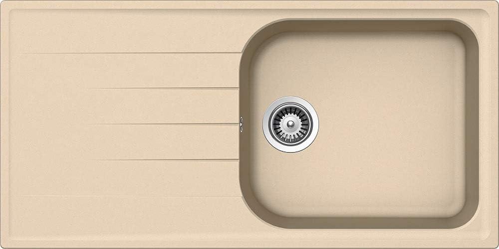Respekta par Schock Evier de Cuisine /Évier Granit /Évier Encastr/é/Évier de Granit /Évier 100 X 50 cm avec Excentrer par Rotation 100x50 cm gris