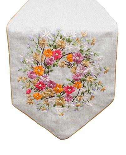 Fennco Styles Handmade Ribbon Embroidery Flower Decorative Linen Table Runner (Wildflower, 13