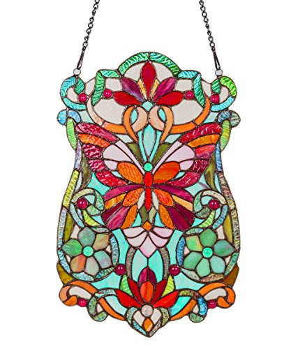 River of Goods 19-Inch Tiffany Style Stained Glass Butterfly Fleurs Window Panel