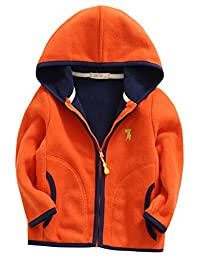 Boys Fleece Jacket Winter Soft Warm Zipper Up Hand Pockets Hooded Coat 2-8T