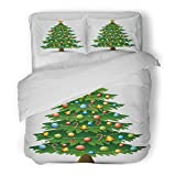 SanChic Duvet Cover Set Green Cartoon of Christmas Tree on White Yellow Ball Decorative Bedding Set with Pillow Sham Twin Size