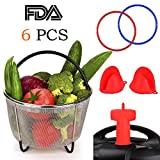 Instant Pot Accessories Set 6 qt with Steamer Basket 6 quart, 2-Pack Sealing Ring, Original Steam Release, 1 Pair Silicone Cooking Pot Mitts 6 Piece - Fits Most Pressure Cookers