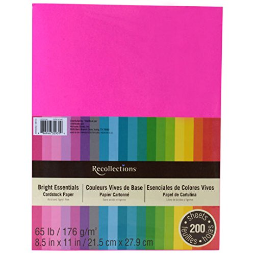 Recollections Cardstock Paper, 8 1/2, Bright Essentials, 200 Sheets