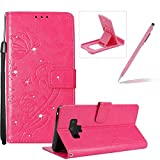 Wallet Case for Samsung Galaxy Note 9,Strap Portable Leather Case For Samsung Galaxy Note 9,Herzzer Stylish Bling Diamonds Hot Pink Butterfly Embossed Pu Leather Purse Pouch Magnetic Closure Flip Folio Protective Case