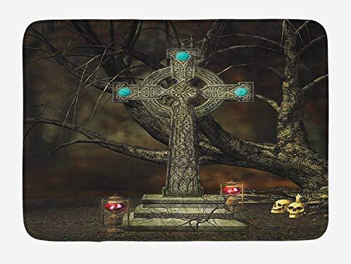 Gothic Bath Mat, Gothic Cross Tree Grave Skulls and Tombstone Lanterns Graveyard Night Art, Plush Bathroom Decor Mat with Non Slip Backing, 23.6 W X 15.7 W Inches, Olive Green Aqua ()