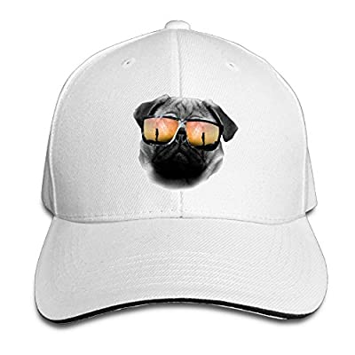 Ws WellShopping Cool Pug Head with Sunglasses Custom Sandwich Peaked Cap Unisex Baseball Hat