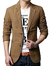 Generic Mens Casual Solid Cotton Two Button Slim Fit Blazer Jacket