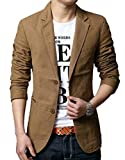Generic Mens Casual Solid Cotton Two Button Slim Fit Blazer Jacket Khaki L