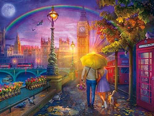 Buffalo Games 17118 - Cities in Color - London Rain - 750 Piece Jigsaw Puzzle, Multicolor