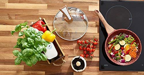 Copper Non Stick Frying Pan with Premium High Performance Stone Coating Bakelite Wood Effect Handle & FREE Stand Alone Lid 28cm | Perfect Healthy Dry Frying