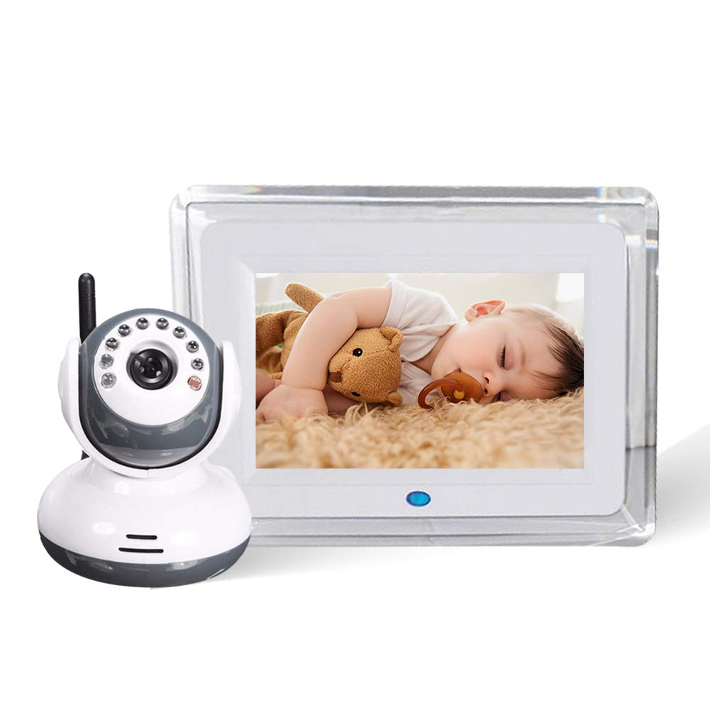 PAKASEPT Video Baby Monitor with Two Camera and Audio,7 inch LCD Large Screen,Two Way Talkback,Auto Night Vision,Support Multi Cameras/Vox,Baby Safe Wireless Video Monitor