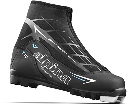 (Alpina Sports Women's T10 Eve Touring Ski Boots with Zippered Lace Cover, Black/White/Blue, Euro 39)