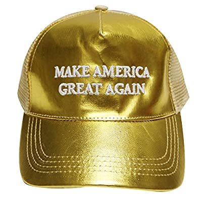 Cr110 Trump Make America Great Again Metalic Trucker Cap in Gold
