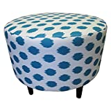 Sole Designs JoJo Series Sophia Collection Round Upholstered Ottoman with Espresso Leg Finish, Aquarius