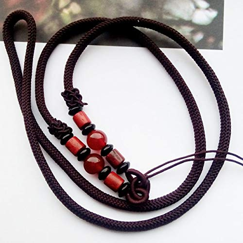 (Laliva KYSZDL Original Design The Rope with red ma nao/Stone and Wood can use Pendant - (Color: Brown) )