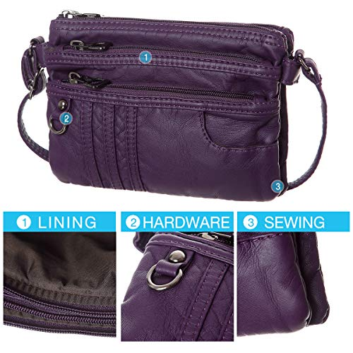 Leather Crossbody Synthetic Treble Pockets Wallet Bag Phone Cell Purse Purple Soft Small Women CFq0Z