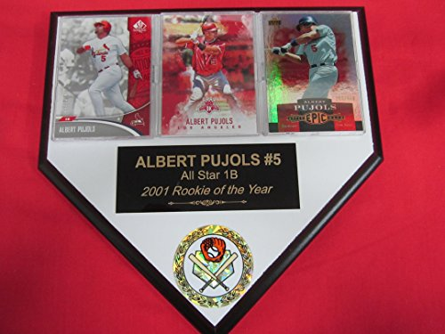 Albert Pujols Angels St Louis Cardinals 3 Card Collector HOME PLATE Plaque EXCLUSIVE DESIGN to AMAZON!